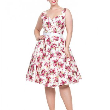 Voodoo Vixen Women's Nicolette Floral Button Detail Sun Dress - Pink