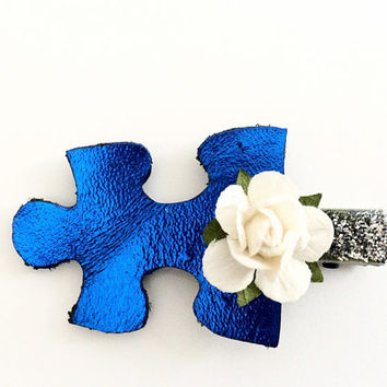 Autism puzzle piece blue leather hair clip, Girls Sparkling Hair Clip, Autism Leather Bow, nautical hair clip
