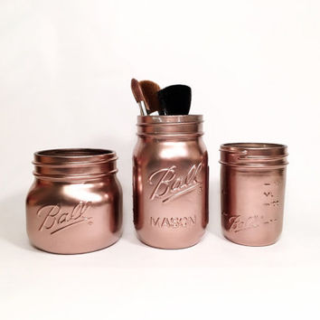 Makeup Brush Holders - Rustic Bathroom Decor - Makeup Organizer - Make Up Holder - Makeup Brush Storage - Rose Gold
