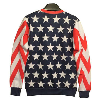 Autumn winter Fashion Men/Women&'s 3d Sweatshirts print Riche lady flag stars cotton 3d hoodies tops