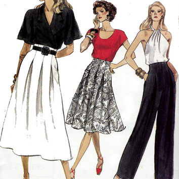 High Waist Pleated Skirt Pants Vogue 7416 1980s Vintage Sewing Pattern Size 6 8 10 Waist 23 24 25 UNCUT FF