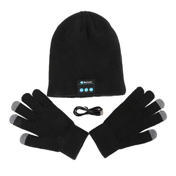 Warm Soft Smart Headset Bluetooth Wireless Beanies Hats  Gloves Set for Women Men Unisex Caps Headphone Speaker SM6