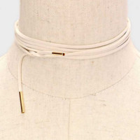 Long Faux Suede Tie Wrap Choker Matchstick Necklace - Ivory