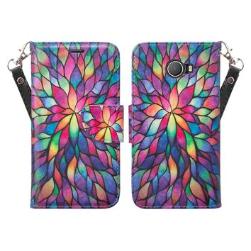 Jitterbug Smart 2 Case, Magnetic Flip Fold Kickstand Leather Wallet Cover with ID & Credit Card Slots - Rainbow Flower