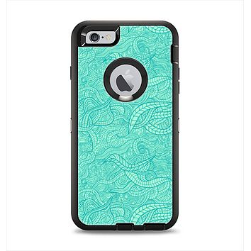 The Teal Leaf Laced Pattern Apple iPhone 6 Plus Otterbox Defender Case Skin Set