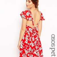 ASOS PETITE Exclusive Ruffle Sleeve Tie Back Floral Skater Dress - Mul