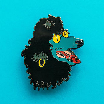 Rock'n'Roll Poodle Rocker Dog Enamel Pin - Hair Metal Pin