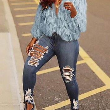 New Blue Tassel Long Sleeve Fuzzy Fur Teddy Casual Outerwear