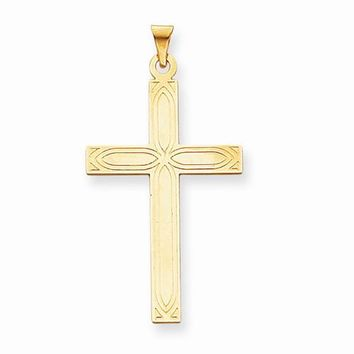 14k Gold Solid Cross Pendant