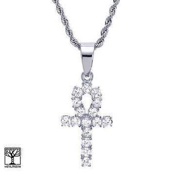 "Jewelry Kay style Men's Stainless Steel Iced Ankh Cross CZ Pendant 24"" Chain Necklace SCP 8033 S"