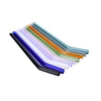 7 Color 1PC Special Fine Curved Glass Pipet Environmental Glass Health Baby Drinking Straws Pipette Drinking Straws Eco-friendly