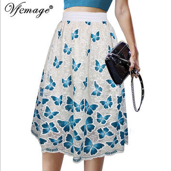 Vfemage Womens Elegant Butterfly Lace High Waist Vintage Lady Casual Wear to Work Office Business Party A-Line Skater Skirt 6238