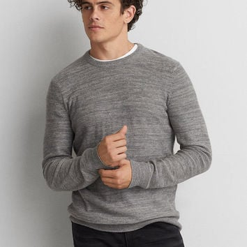AEO Space Dye Crew Sweater, Gray