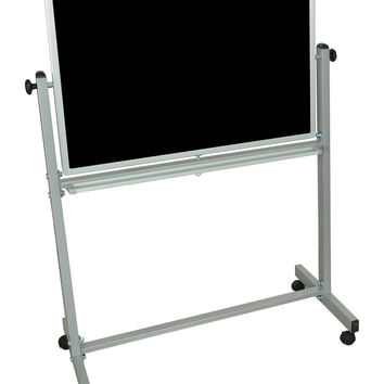 Mobile Reversible Adjustable Magnetic Dry Erase Double Sided Chalk Board Silver Frame Green - 57H x 36W x 23D
