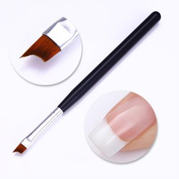 1 Pc French Tips Nail Brush UV Gel Painting Drawing Pen Black Matte Acrylic Handle Manicure DIY Kit Nail Art Tool