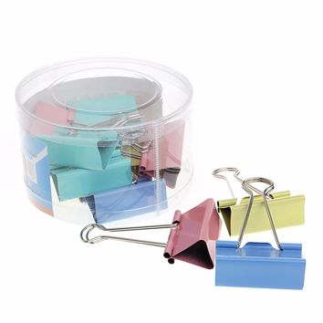 12Pcs Colorful Metal Binder Clips File Paper Clip Office Supplies 51mm Width