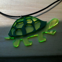 Turtle Silhouette Pendant, Green Acrylic Necklace