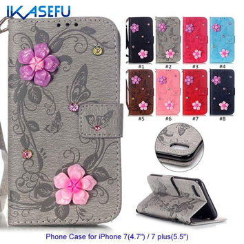 IKASEFU Phone Case for iPhone 7 4.7 for iPhone 7 plus 5.5 Coque Embossed Diamond Wallet Leather Stand Protective Silicone Cover