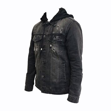 Nick Hooded Denim Jacket (Black)