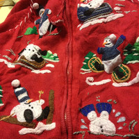UGLY CHRISTMAS SWEATER Tacky Gaudy Holiday Clothing Fashion Shirt Vest Vintage Party Snowman Santa Tree Xmas Holly Mistletoe Reindeer Wreath