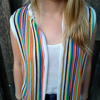 Vintage Retro Indie Festival Vest Rainbow Stripes Unisex Sears Medium