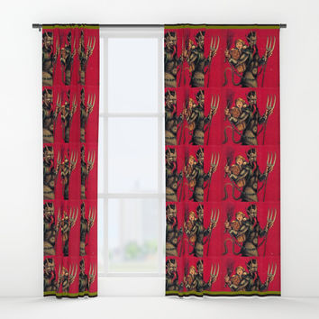 krampuskrampuskrampus Window Curtains by Kathead Tarot/David Rivera