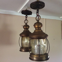 Antique Pair Nautical Hanging Lanterns Mid Century Marked Georgian Art Lighting