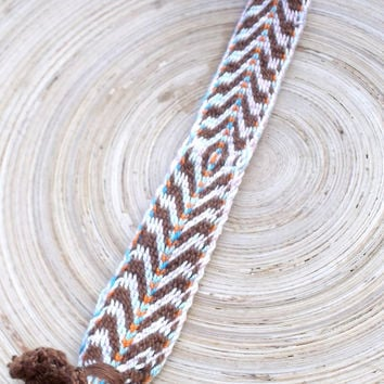 Weaving colorful tribal bracelet, hand waeve brown purple tribal bracelet, patterned ethnic wrist band, friendship bracelet, boho jewelry