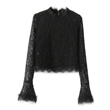 Black Flared Sleeve Lace Top With Zipper