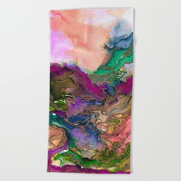 BRING ON BOHEMIA 1 Bold Rainbow Colorful Watercolor Abstract Metallic Accent Summer Peach Pink Green Beach Towel by EbiEmporium