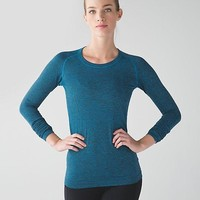 lulu LULULEMON long sleeve pure color yoga running t shirt Swiftly Tech Long Sleeve Crew Navy