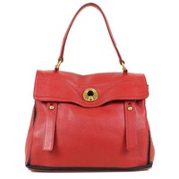 Auth YVES SAINT LAURENT Muse Two Women leatherxcanvas Shoulder Bag