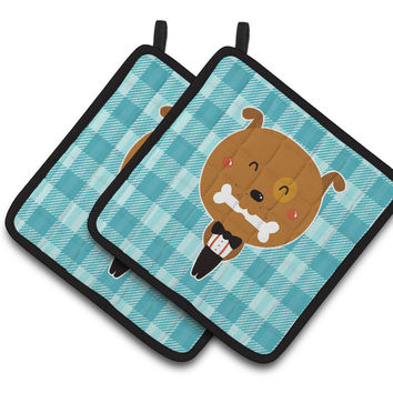 Dog in Tuxedo Pair of Pot Holders BB6737PTHD