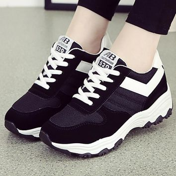 Sneakers wedge shoes women casual shoes lace up sneaker cotton fabric geometric sewing trainers ladies Shoes black shoe