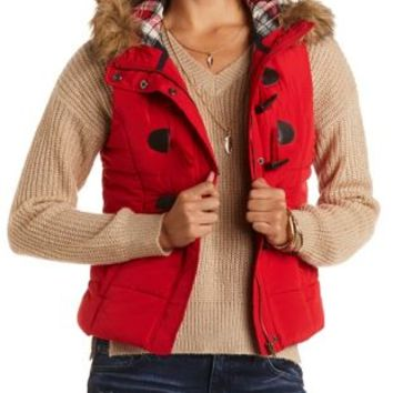 Faux Fur-Trim Hooded Puffer Vest by Charlotte Russe - Red Combo