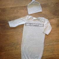Dave Matthews infant upcycled baby gown with knotted hat