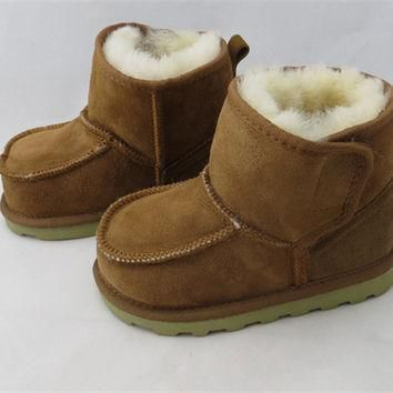 Real Goat Fur Baby Boy Winter Snow Boots Brand Kids Ugly Boots Children Genuine Leathe