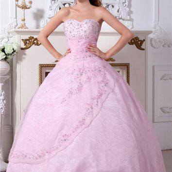 Sequined Embroidery Beaded Pink Elegant Quinceanera Dresses 2017 Sweet 16 Dresses Ball Gown Beauty Cheap vestidos de 15 anos