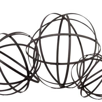 Mesmerizing Showpiece Metal Sphere Of 5 Flattened Circl'S Set Of Three