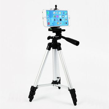 Flexible Aluminum Tripod 4 Sections Practical Photographic equipment Protable Tripod with Clip Phone Holder Projector Camera