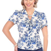 Collectif Vintage Women's Blue & White Porcelain Tura Blouse