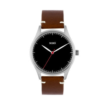 Miró Watches — Black Face Chocolate Strap