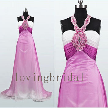 2014 Long Beaded Halter Satin Prom Dress Bridesmaid Dress Party Dress Simple Homecoming Dress Formal Prom Dress Custom