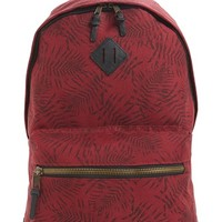 Men's Topman Leaf Print Backpack - Burgundy