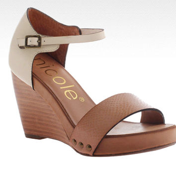 Nicole Savannah Truffle Wedge Sandals
