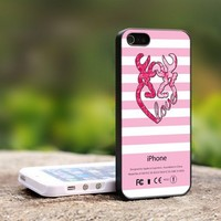 Love Browning Stripes Pink - For iPhone 4,4S Black Case Cover