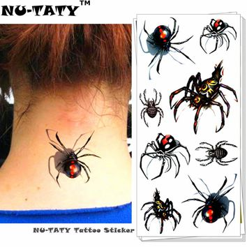 Nu-TATY Sexy Black Spider 3d Temporary Tattoo Body Art Flash Tattoo Stickers 19*9cm Waterproof Tatoo Home Decor Wall Sticker