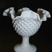 Vintage Fenton Hobnail Footed Milk Glass Candy Bon Bon Dish or Compote with Ruffled Edges and Pedestal / Footed Base