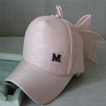 LMFUS4 2015 new fashion M Oversized mesh bow cap hip-hop Snapback hats for women Gorras synthetic leather sports street dance caps hat