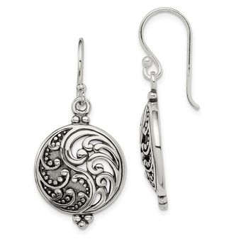 925 Sterling Silver Antique Filigree Yin and Yang Earrings